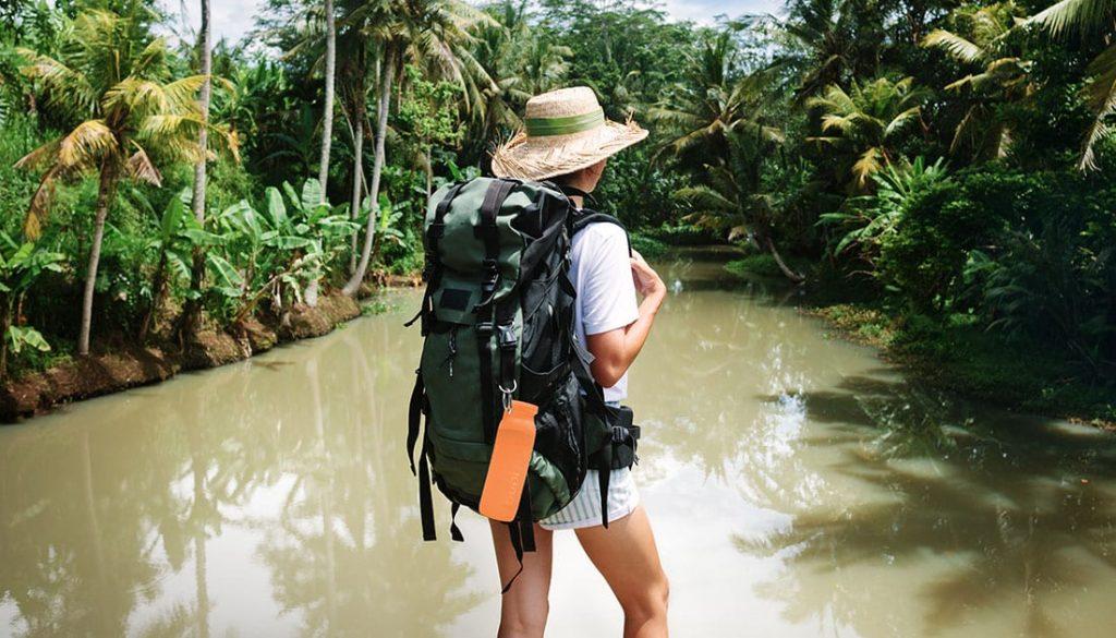Backpacking, outdoors, lifestyle, orange Bubi Bottle, silicone water bottle. Hydration, Hydrate, Colorful bottle