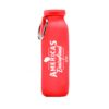 red water bottle with white print