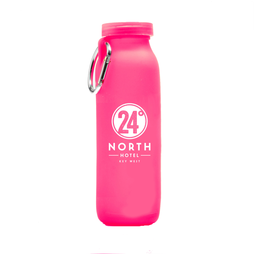 24 North Hotel, Key west florida, customized water bottle, Pink bottle, silicone water bottle, Personalized