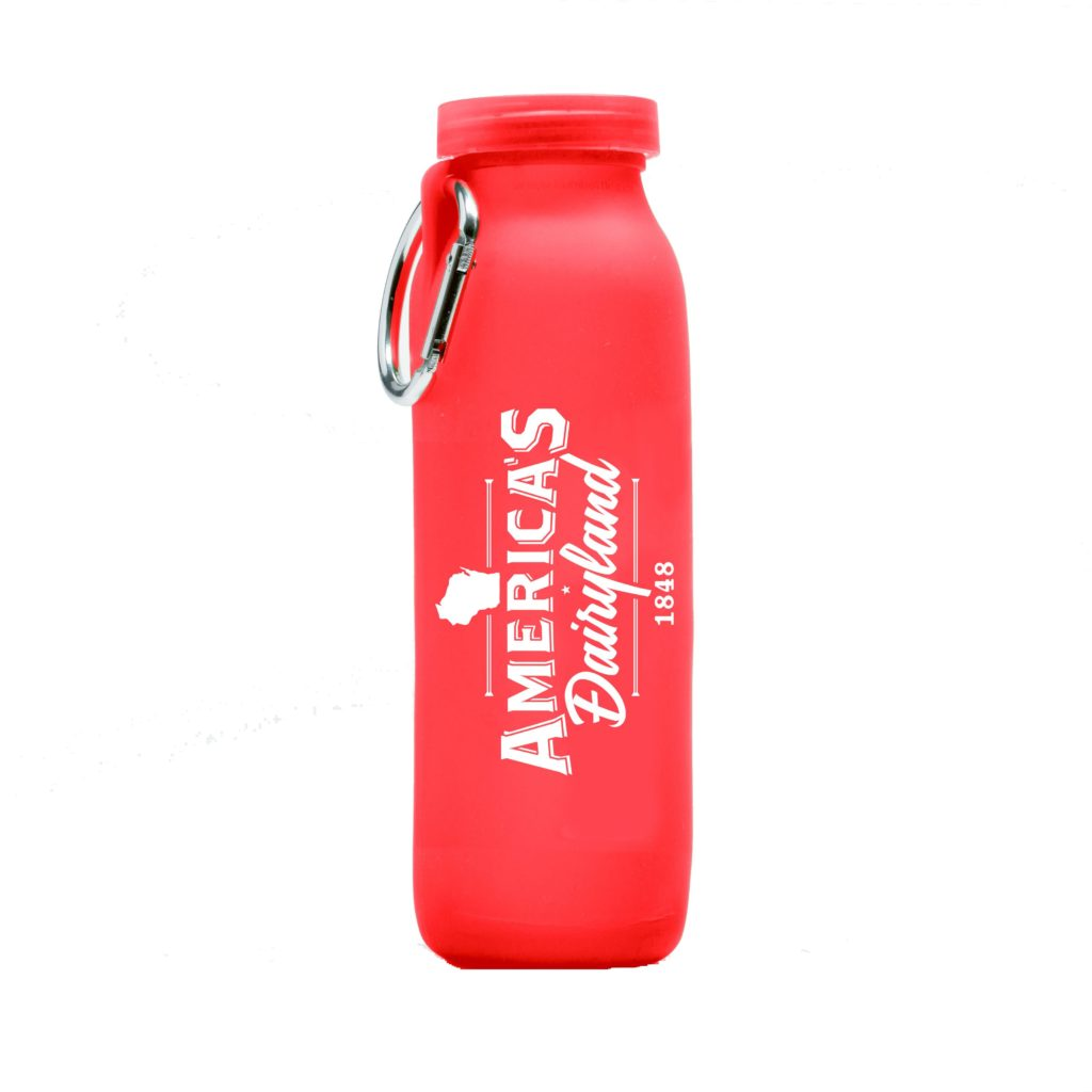 Americas Dairyland, customized water bottle, Red bottle, silicone water bottle, Personalized