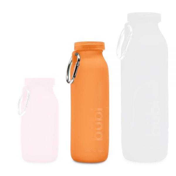 orange water bottle, water bottle, silicone water bottle, sports