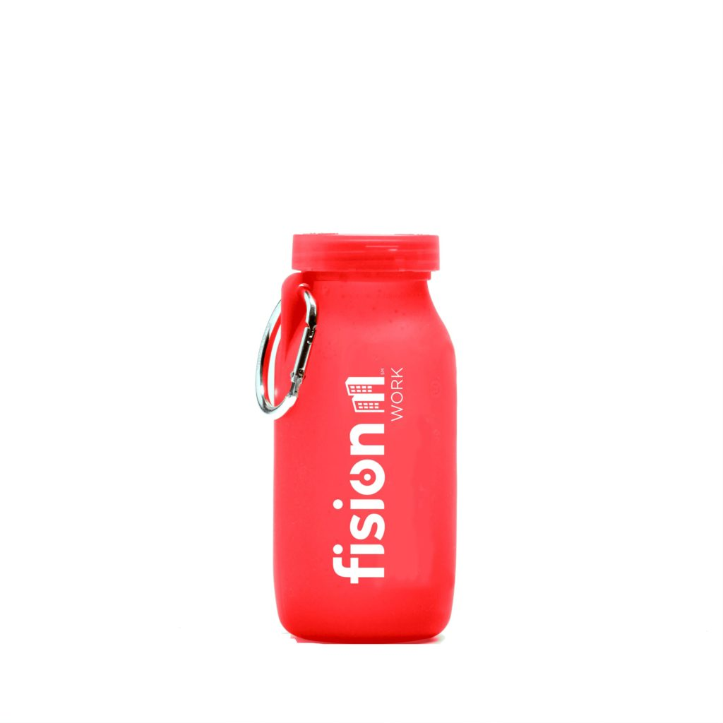 Fusion work, customized water bottle, Red bottle, silicone water bottle, Personalized