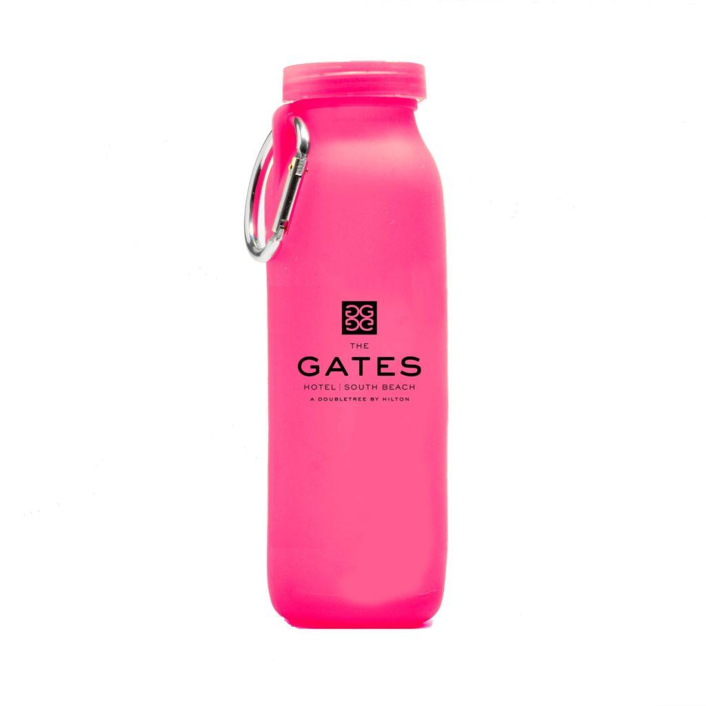 Gates hotel, customized bottle, Pink, silicone water bottle, Personalized