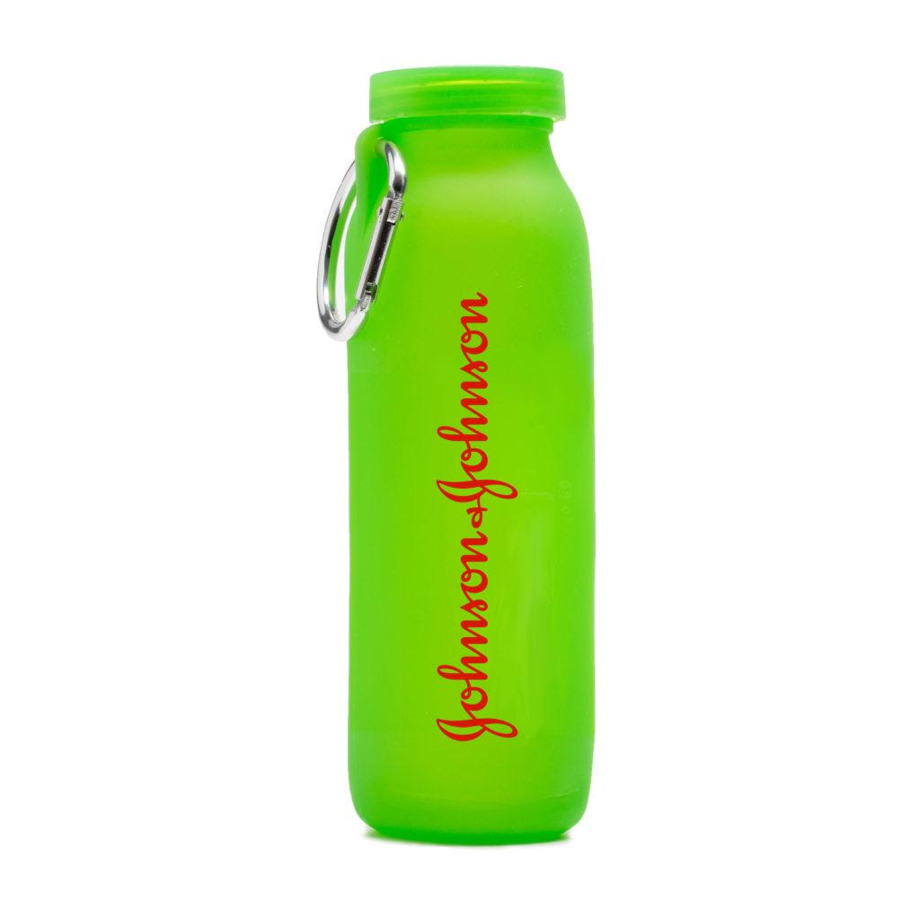 Johnson & Johnson, customized water bottle, Green bottle, silicone water bottle, Personalized