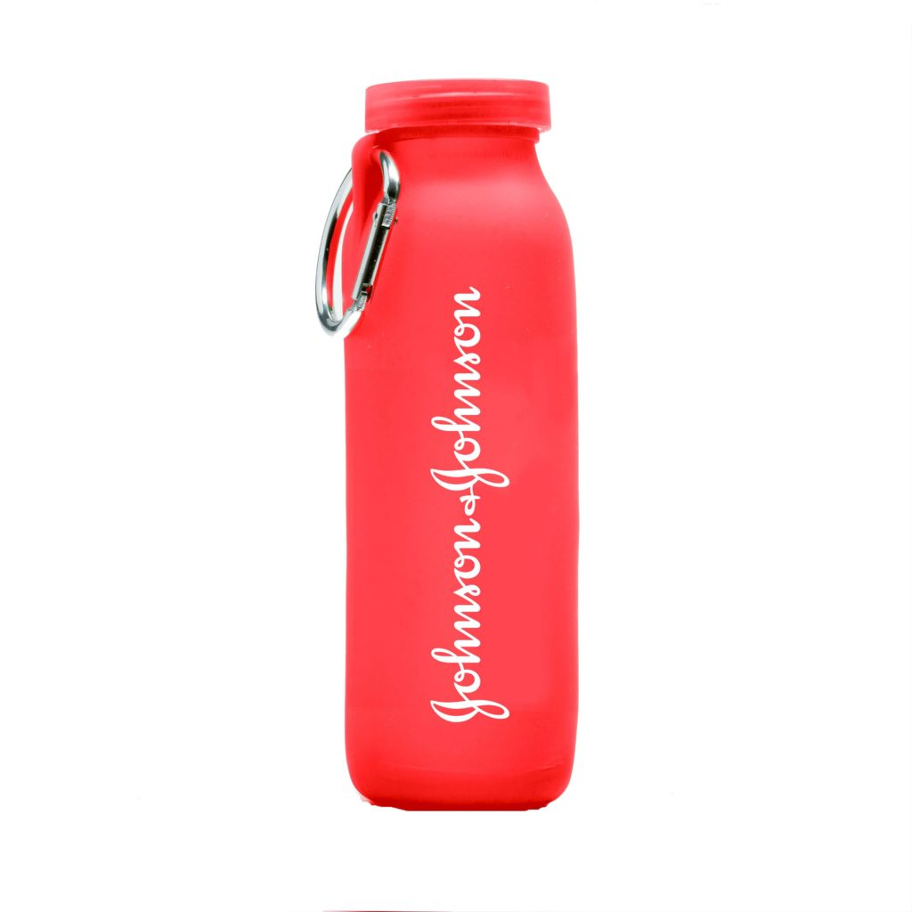 Johnson & Johnson, customized water bottle, Red bottle, silicone water bottle, Personalized