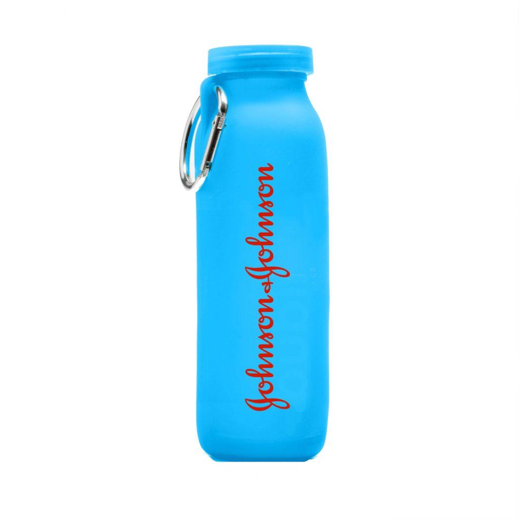 Johnson & Johnson, customized water bottle, Blue bottle, silicone water bottle, Personalized