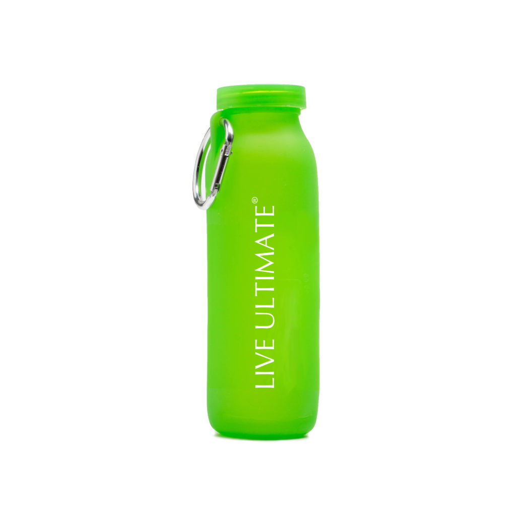 Live Ultimate, customized water bottle, Green bottle, silicone water bottle, Personalized